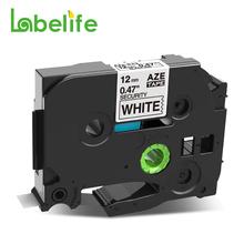 1PC 12mm TZe-SE3 taśma etykiet bezpieczeństwa kompatybilny dla Brother p-touch tzSE3 tze SE3 drukarka do etykiet czarny na białym TZe-SE4 TZe-SE2 tanie tanio Labelife CN (pochodzenie) TZe-231 TZe231 Wstążka Wstążki drukarki Label Printer 12mm X 8m (0 47in*26 2ft) Laminated Label Tape