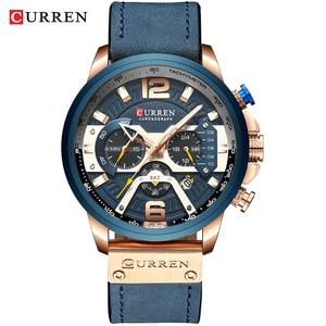 Image 2 - CURREN Relógio Mens Relógios Top Marca de Luxo Cronógrafo Dos Homens Do Esporte Dos Homens Casuais de Couro À Prova D Água Relógio de Quartzo Relogio masculino