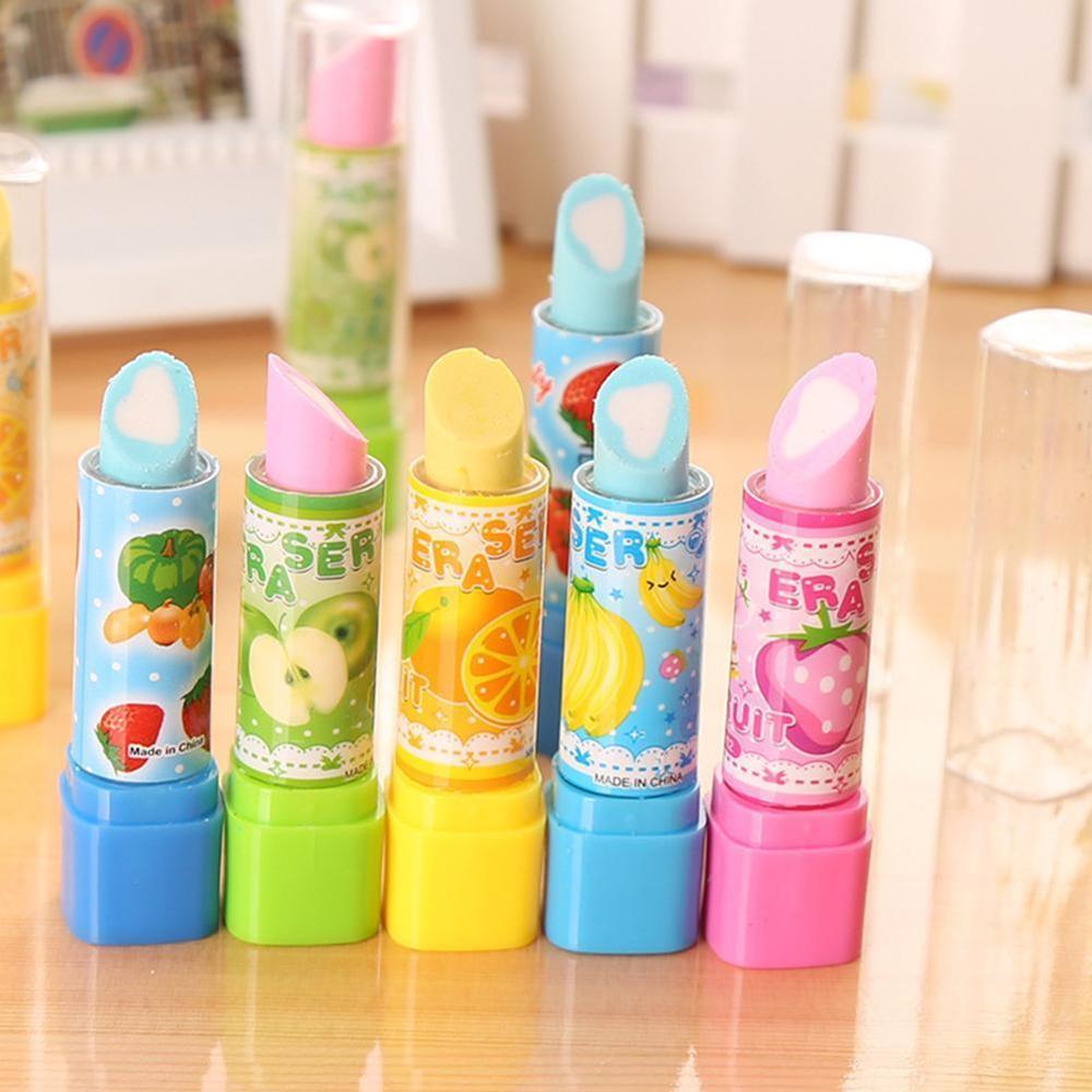 2pcs Cartoon Fruit Lipstick Eraser Creative Learning Supplies Elementary School Children Cute Kawaii Award