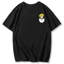 Verano Meliodas Siete pecados mortales pecho izquierdo T camisa de los hombres de ocio camiseta manga corta Camiseta japonés Impresión de Anime estudiante camiseta