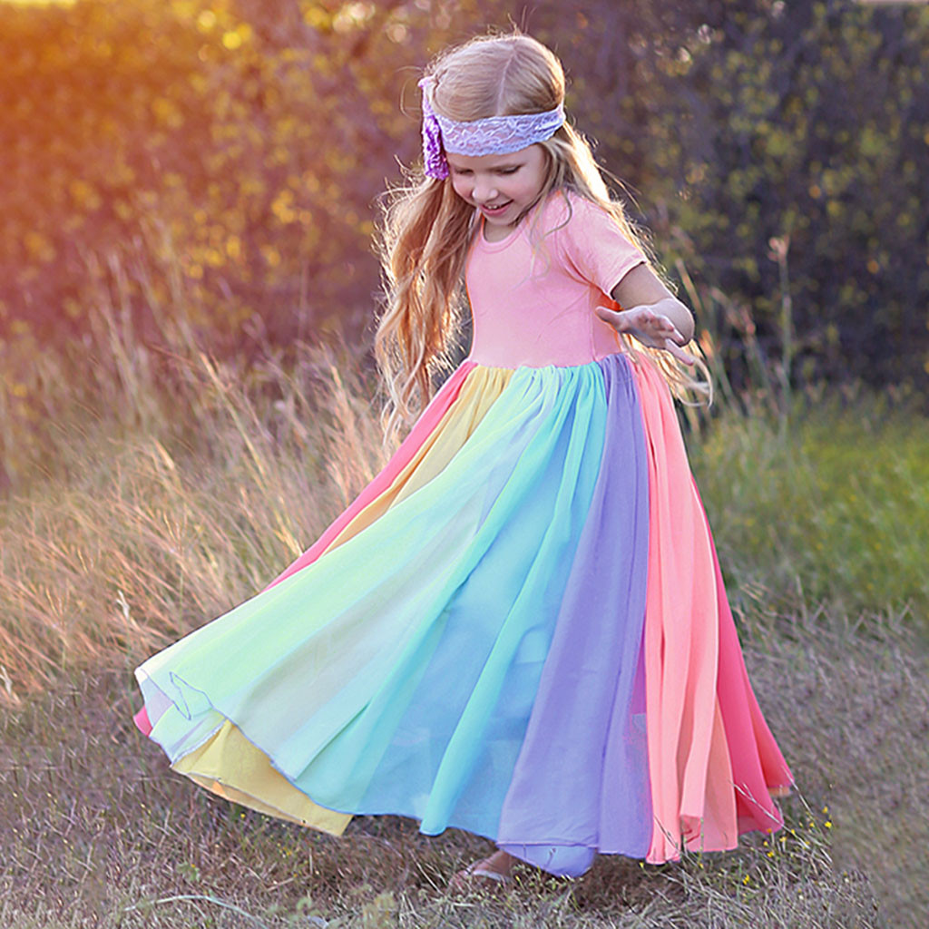 40# Dress Kids Girls Short Sleeve Rainbow Stitching Dress Dress Princess Dress Birthday Party Dresses Kids Clothes Girls 2