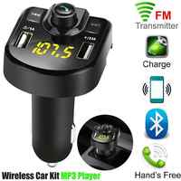 Dual USB Wireless Bluetooth Kit Car MP3 Player Handsfree FM Transmitter Car Charger Radio Adapter LCD MP3 Player Car Accessories