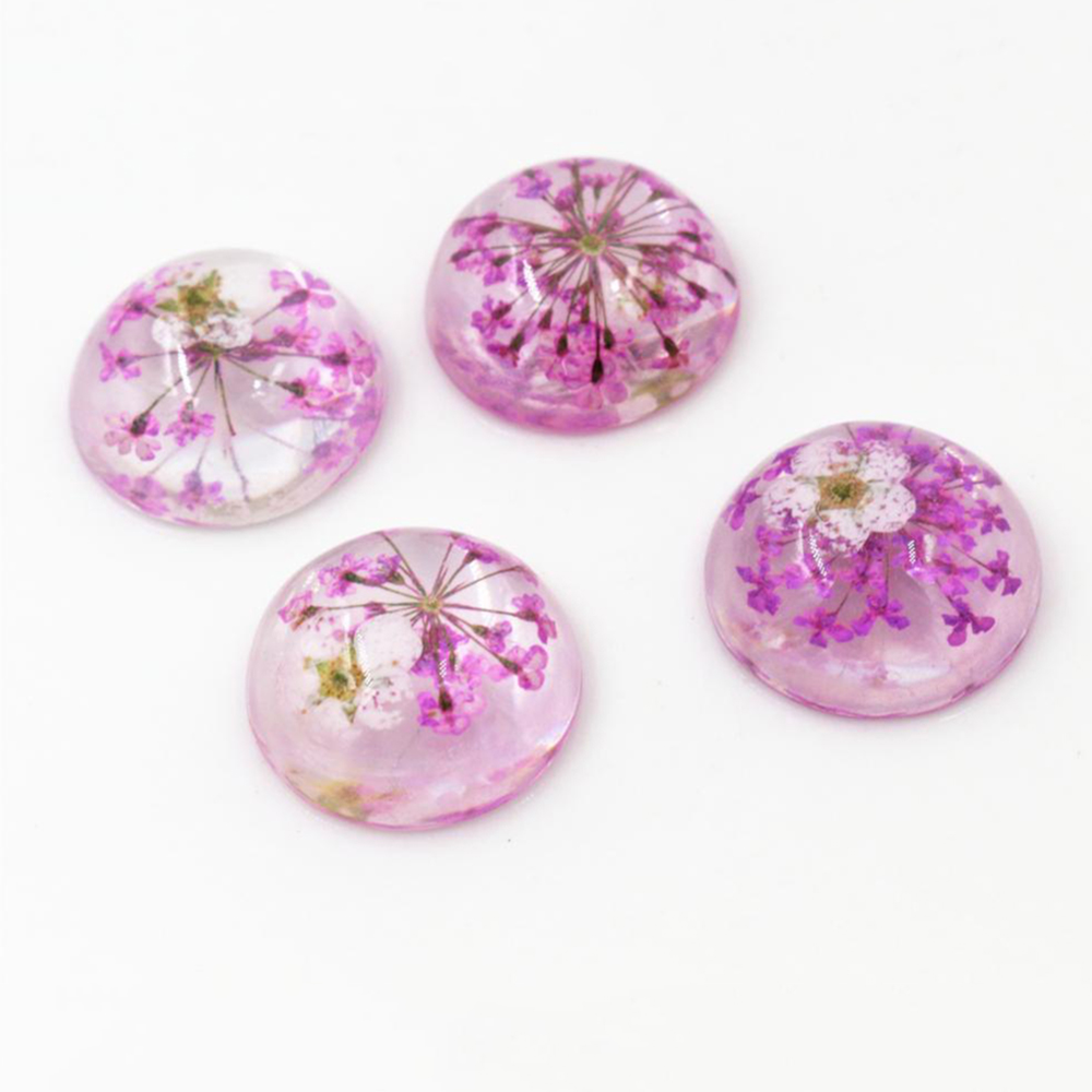 New Fashion 10pcs 20mm Purple Natural Dried White Chrysanthemum Flowers Cabochons Cameo-V3-07