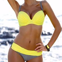 New Sexy Yellow Bikini With Push Up Large Swimsuit Print Swimwear Plus Size Bathing Suit Women Beach Swimming Suits For Female стоимость