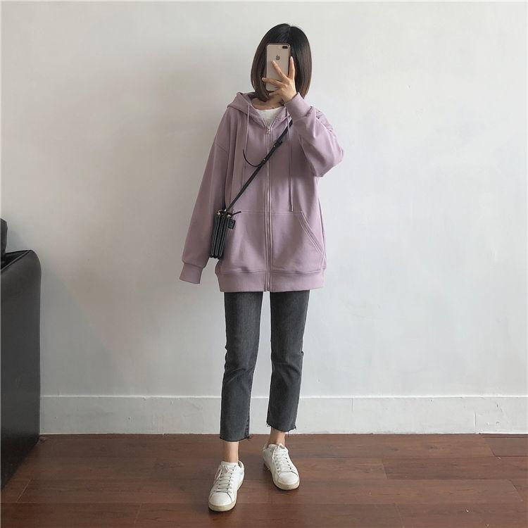 Hf7ed0b3ef9404b4db89efad4cef3c3c9S Harajuku with hat hoodies women zipper kangaroo pocket casual loose solid color sweatshirt female 2020 fashion new female s