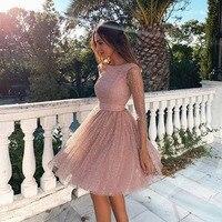 BacklakeGirls Elegant Long Sleeve Cut Out Sequined Cocktail Dress Sukienki Knee length Prom Dress Vestidos De Fiesta Corto