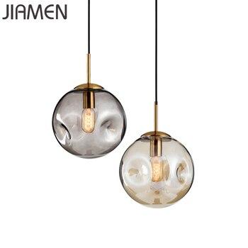 JIAMEN Modern Round Glass Pendant Lights Led E27 Bulb Hanging Lamp for Bedroom Living Room Kitchen Nordic Indoor Decor Fixtures