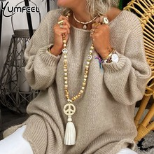 Yumfeel Brand New Fashion Necklace Handmade Wood Stone Peaceful Tassel Women Necklaces