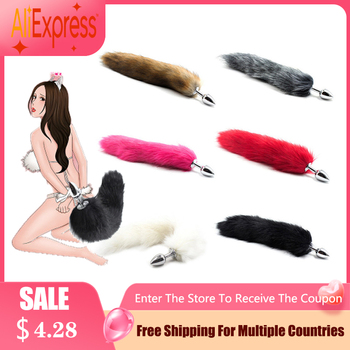 Fox Tail Anal Plug Butt In Adult Games Stainless steel Anal Pleasure Bead Butt Plug Stimulator Sex Products Flirt Toys For Women rabbit tail anal plug tail butt plug sexy feather toys for women adult sex small products