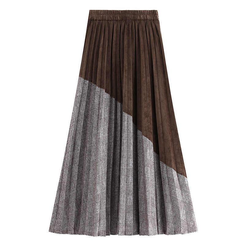 Jesienno-zimowa Patchworkl Plaid aksamitna linia Maxi długie plisowane spódnice skośne łączone Pleuche kostki długie spódnice kawa