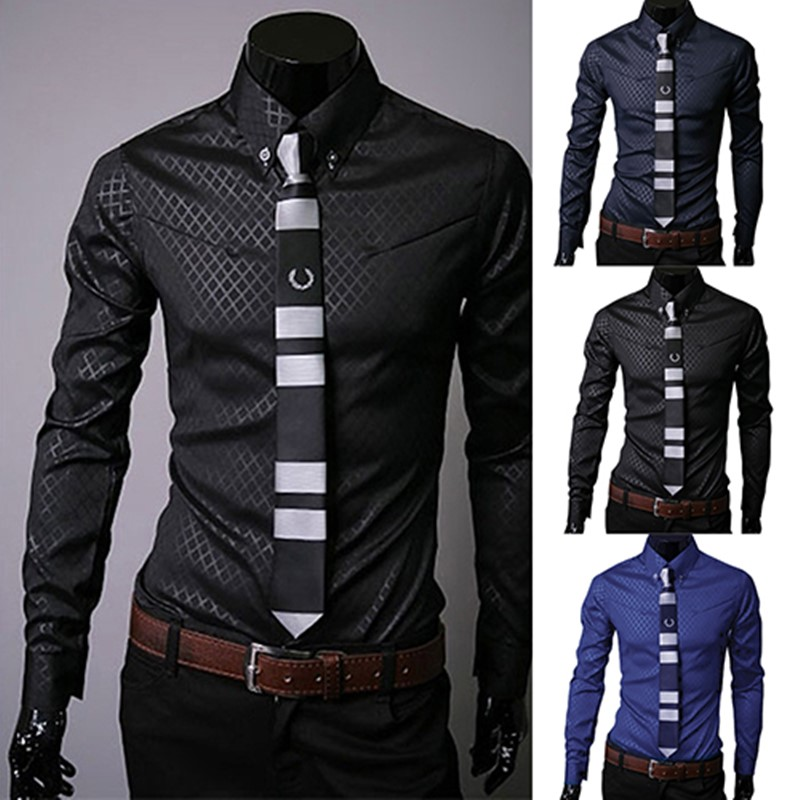 Dress Shirt Slim-Fit Argyle Long-Sleeve Business-Style Fashion Men Casual Luxury New-Arrival title=