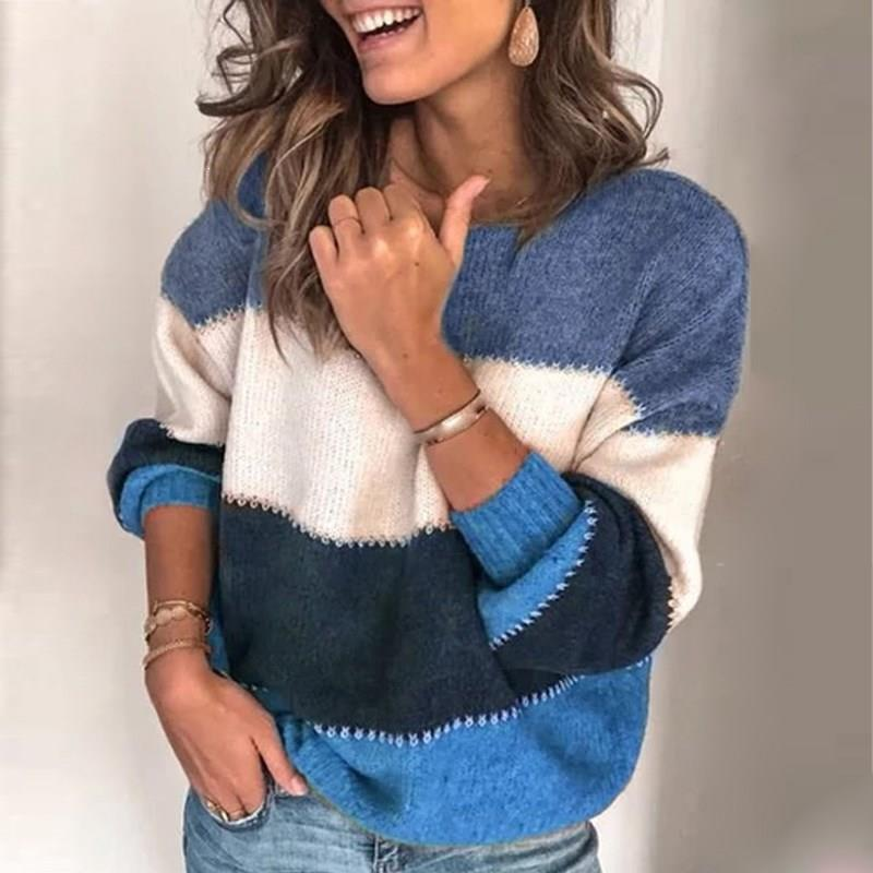 2019 Fall Winter Women Long Sleeve Knitted Pullover Sweaters Pullovers O-Neck Warm Sweaters Ladies Patchwork Sweaters Jumpers