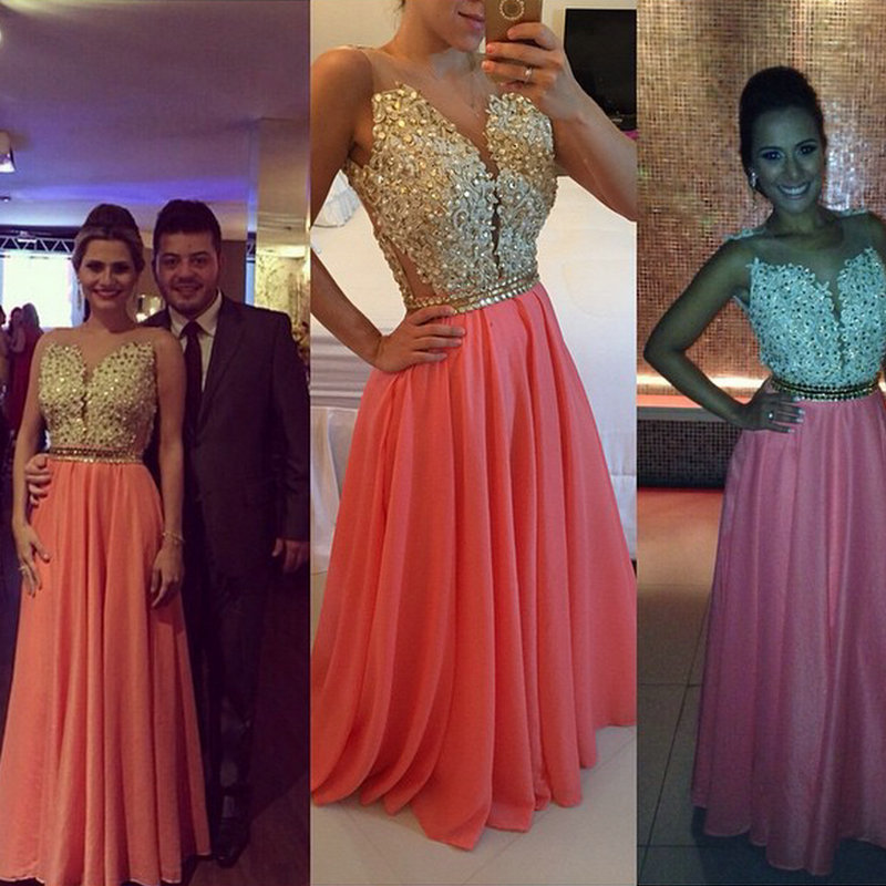 Floor Length Sleeveless Coral Chiffon Evening Dress With Gold Applique Vestidos De Festa Vestido Longo 2015