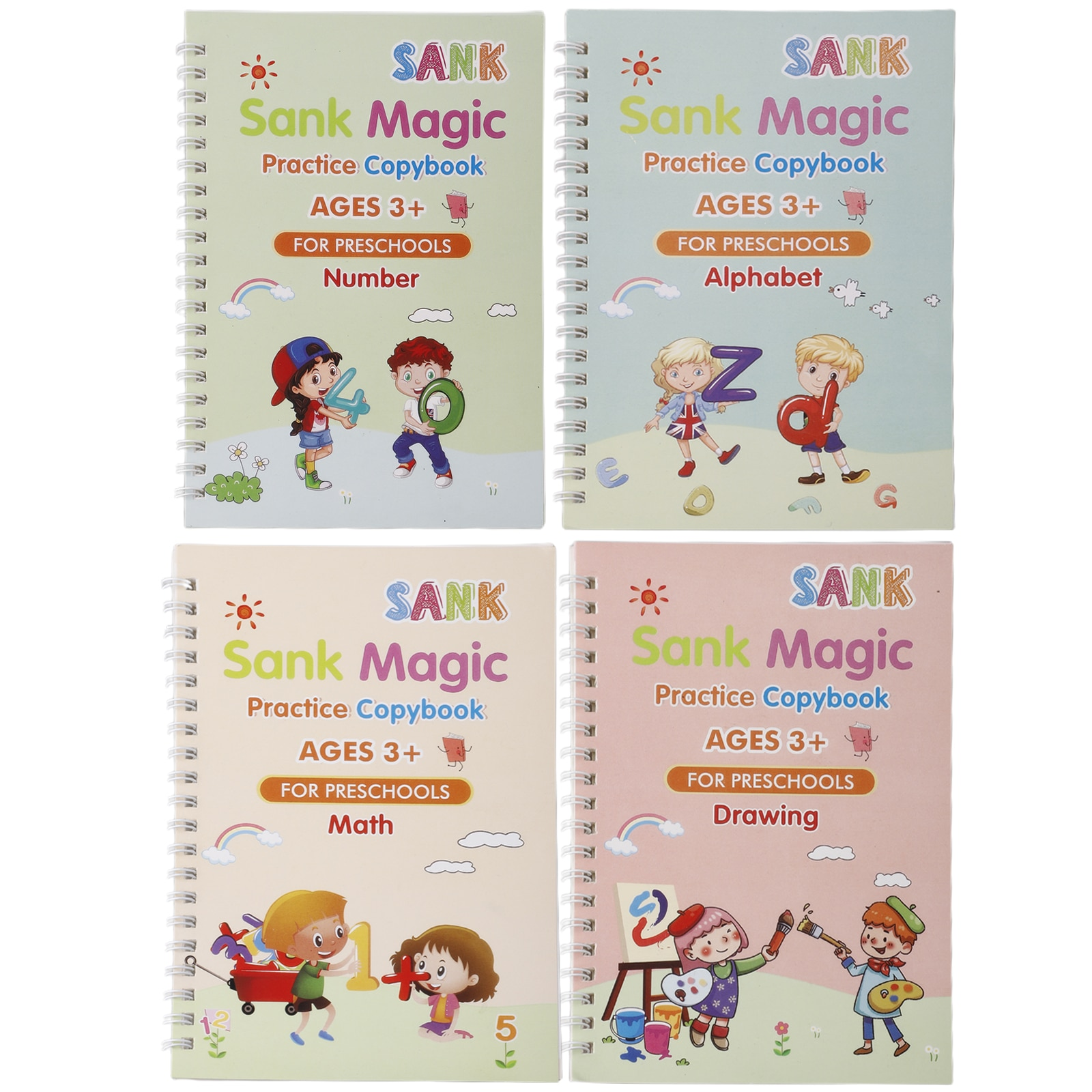 4 Books + Pen for Children's Study Book Reusable Calligraphy Copybooks English Number Lettering Writing Practice Copybook