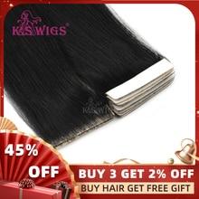 """K.S парики 1"""" 20"""" 2"""" Remy, завязанные вручную ленты, искусственная кожа, уток волос, прямые, двойные, нарисованные, невидимые, бесшовные, клейкие волосы для наращивания"""