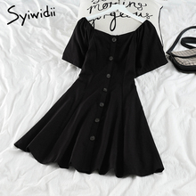 Black Syiwidii Korean Fashion Short-Sleeve Dresses Women New-Dress Elastic High-Waist