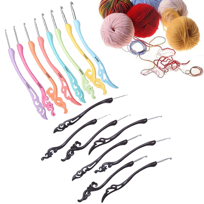 2.5-6.0mm 8 Size Retro Style Crochet Hooks Kit With Ergonomic Soft Grip Handles Smooth Knitting Needles Weaving Yarn Set