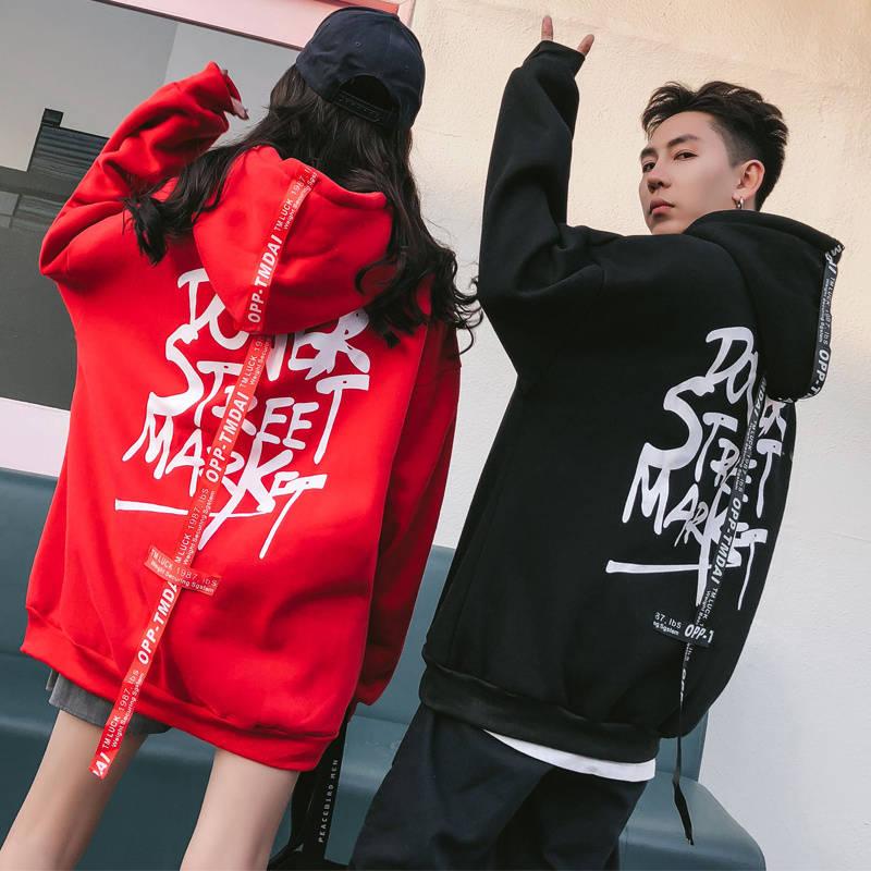 Winter Spring Korea Fashion Letter Printing Cool Behind Hoodie Women Loose Velvet Hip Hop Harajuku Couple Hood Sweatshirt Girl