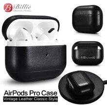 Para AirPods Pro funda de caja de carga fundas de auriculares inalámbricos Bluetooth para Airpods Pro Funda de cuero Vintage Estilo clásico