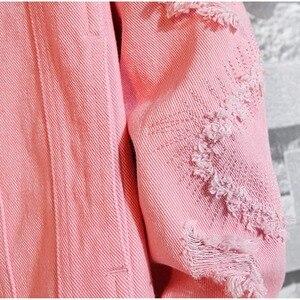 Image 5 - Plus Size Loose Ripped Black Denim Jacket Women 4Xl 5Xl Spring Streetwear Pink Red Basic LoverS Jeans Coat Casual Outwear