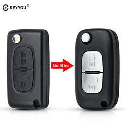 KEYYOU For Peugeot 206 407 207cc For Citroen C4 2005 C5 2009 2 Buttons HU83 HUA Blade CE0536 Remote Key Case Modified Flip Key
