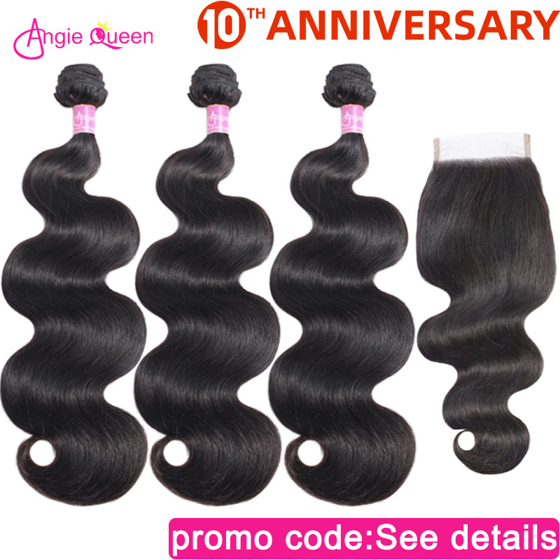 Body Wave Bundles With Closure Brazilian Hair Bundles With Closure Human Remy Hair 3/4 Bundles With Closure 14 16 18 20 22 24 26