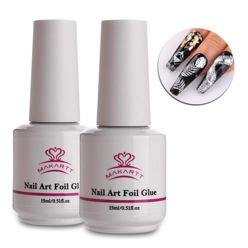 Makartt Nail art Folie Kleber Gel für Folie Aufkleber Nagel Transfer Tipps Maniküre Kunst DIY 15ML UV LED Lampe erforderlich Weg Tränken