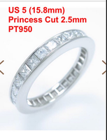 Custom Order of PT950 2.5mm Princess cut, size 5,10k white gold 3mm round cut size4.5, two pcs rings