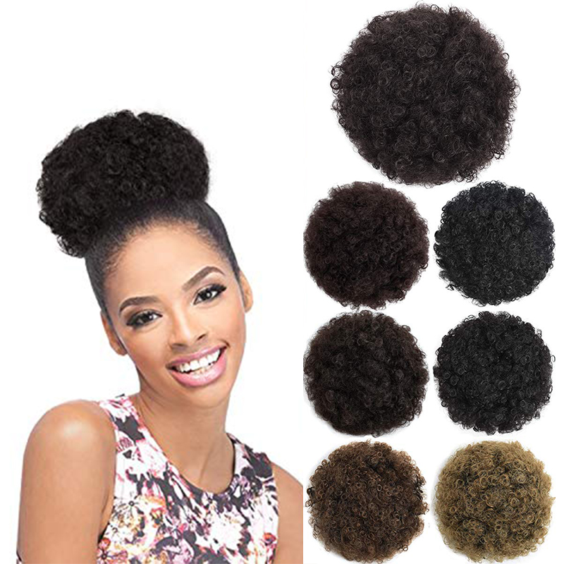 Kong&Li Synthetic chignon Buns Boy Wig Hair Accessories Girl Balerina postiche cheveux Afro Puff Wigs for Black Women Ponytail