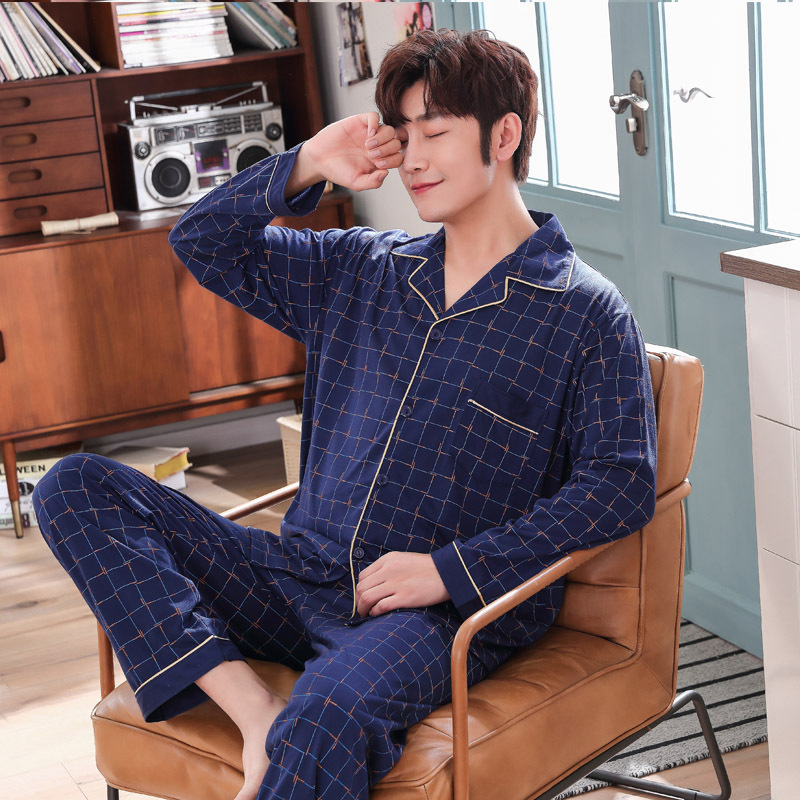 2019 Autumn And Winter Long-Sleeved Cotton Autumn Men'S Pajamas Cotton-Style Thin Section Home Service Suit