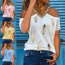 Women's Summer Sexy V-neck Off Shoulder Tops Feather Print Loose Short Sleeve T-shirt Casual Pullover Shirt Roupas Femininas