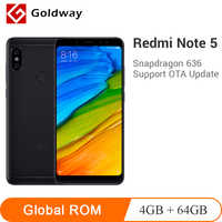 Оригинальный Xiaomi Redmi Note 5, 4 Гб ОЗУ, 64 Гб ПЗУ, мобильный телефон, Восьмиядерный процессор Snapdragon 636, 5,99 дюймов, 18:9, полный экран, двойная камера MIUI9
