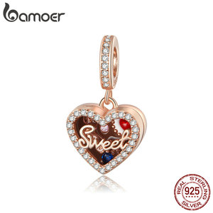 bamoer Chocolate Gift Box Metal Beads Sterling Silver 925 Enamel Charm fit Original Silver Bracelet DIY Jewelry make SCC1670