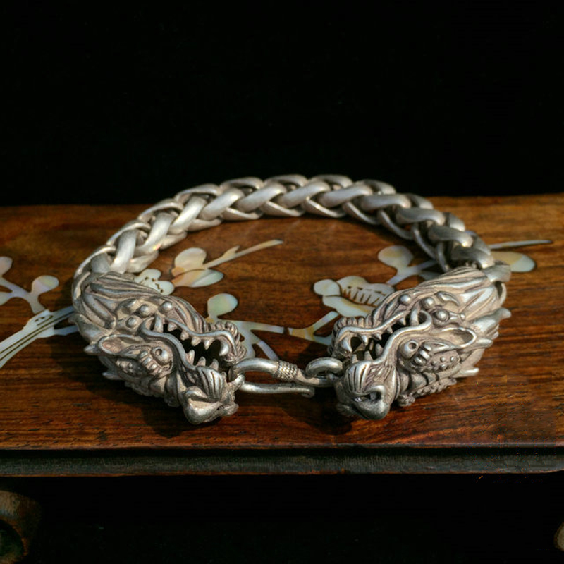 Chinese Rare Collectible Tibet Silver Handwork Dragon Amulet Bracelet Exquisite