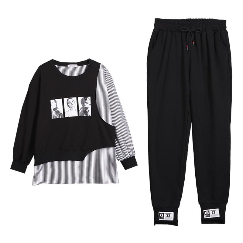 Women's Sports Suit Large Plus Size Tracksuit T Shirt+pants Two Piece Set Top And Pant Clothes Matching Set Fashion Print Set