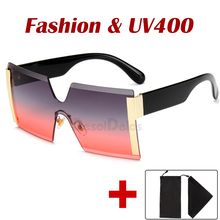 Unisex Fashion 2020 Oversized Square Rimless Sunglasses Women Brand