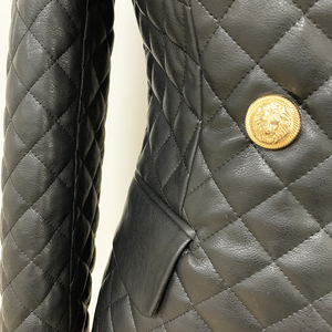 Image 5 - HIGH QUALITY 2020 New Stylish Designer Blazer Womens Lion Buttons Grid Cotton Padded Slim Fitting Synthetic Leather Jacket