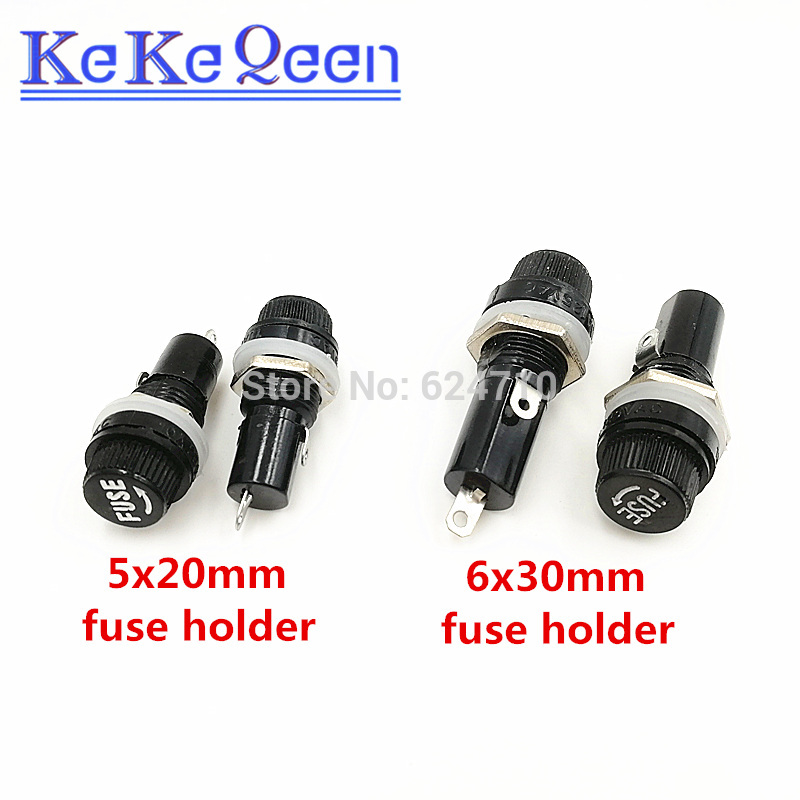 10pcs Panel Mount Screw Cap Fuse Holder Case 15A for Glass Tube 6x30mm Fuses
