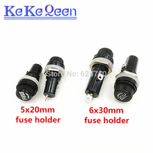 5*20 6*30 fuse holder Durable 250V 10A Panel Mount Screw Cap 5*20mm 6*30mm Fuse Socket Case 5x20mm 6x30mm For Glass Tube Fuse 100pcs box 5 20mm 0 1a 250v fast fuse 5 20 f0 1a 100ma 250v glass fuse 5mm 20mm glass fuse new and original