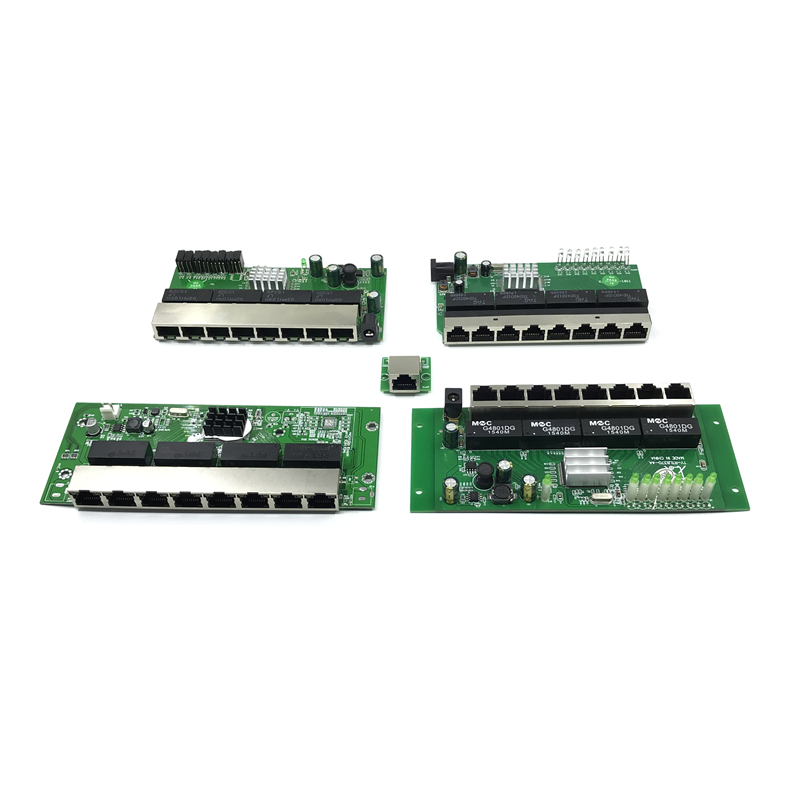 OEM PBC 8 Port Gigabit Ethernet Switch 8 Port Met 8 Pin Way Header 10/100/1000 M Hub 8way Power Pin Pcb Board OEM Schroef Gat