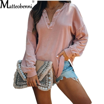 Autumn Women Sexy V-Neck T Shirts Long Sleeve Button Loose Pullover T-Shirt Basic Casual Tops Female Solid Color Tee Shirt