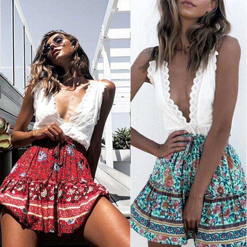 Summer Vintage Floral Print Short Skirt Female Sweet Paperbag Waist Lace Up Women Sexy Elastic High Waist Boho Flora Beach Skirt