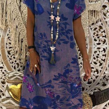 Plus Size Women's Printed Dress 2020 Short Sleeve V-Neck Dress Women's Dress fashionable round neck short sleeve plus size printed dress for women
