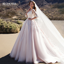 BECHOYER Schatz Appliques Hochzeit Kleid Charming 3D Blumen A Line Rosa Prinzessin K192 Vestido de Noiva Angepasst Braut Kleid