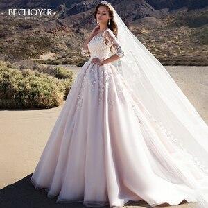 Image 1 - Bechoyer Sweetheart Applicaties Wedding Dress Charmant 3D Bloemen A lijn Roze Prinses K192 Vestido De Noiva Aangepaste Bruid Gown