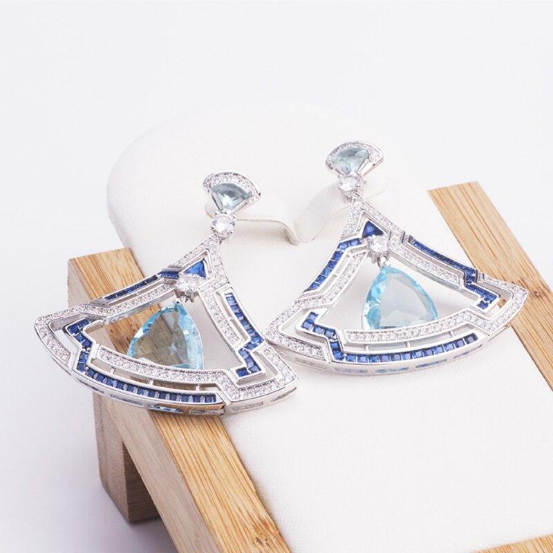 Nouveau Design or Rose ventilateur forme couleur cristal boucles d'oreilles de luxe vintage géométrique pierre naturelle fête bijoux pour les femmes cadeau