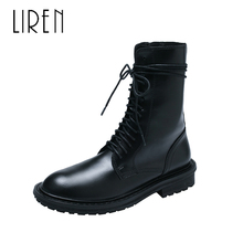 Liren 2019 Spring/Autumn Women Fashion Casual Sexy Boots Lace-up Flat Heels Round Toe Ankle PU Boots Comfortable Lady Boots liren 2019 spring autumn fashion casual women boots lace up round toe flat heels ankle flat med high heels comfortable boots