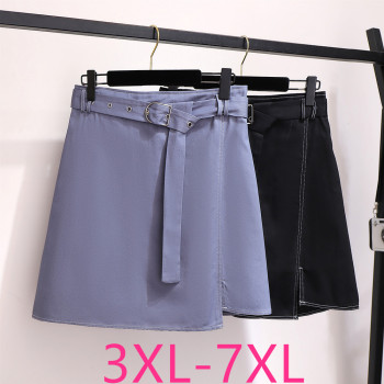 2019 autumn winter plus size mini skirt for women large casual loose elastic waist short skirts belt blue 3XL 4XL 5XL 6XL 7XL