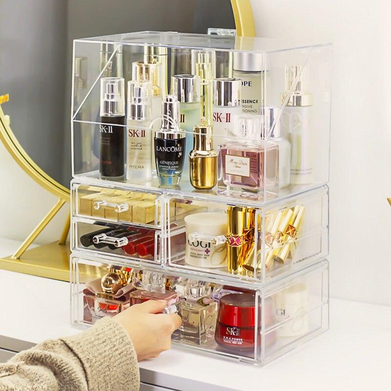 Прозрачный акриловый ящик для хранения косметики, ящики, чехол для губной помады, косметический ящик для хранения, держатель для кистей для макияжа, органайзер для хранения ювелирных изделий|Ящики и баки для хранения|   | АлиЭкспресс