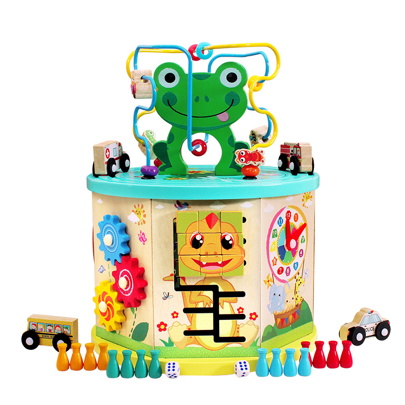 Children Early Childhood Educational Frog Multi-functional Bead-stringing Toy Treasure Chest Aeroplane Chess Calculation Frame F